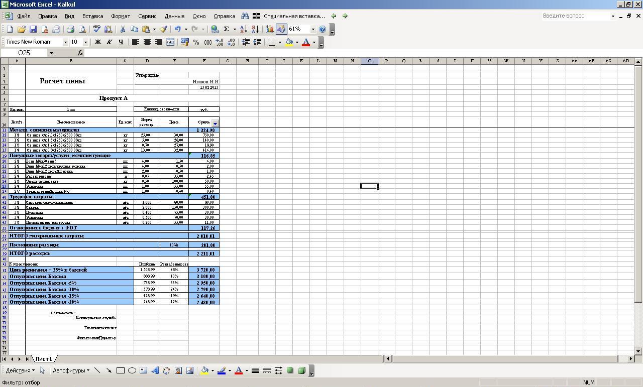 Калькуляция на работы и услуги авито работа оренбург свежие вакансии продавец консультант